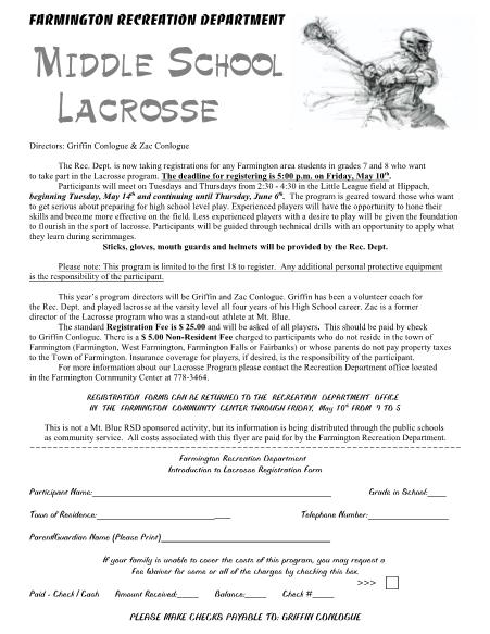 2013 Middle School Lacrosse
