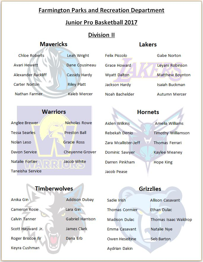 2017 Division two Roster